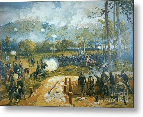 The Battle Of Kenesaw Mountain Metal Print featuring the painting The Battle Of Kenesaw Mountain by American School
