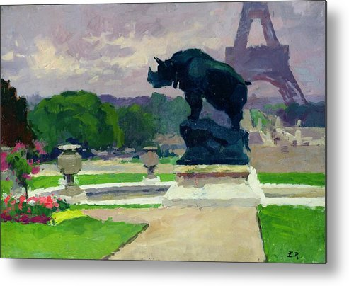 The Metal Print featuring the painting The Trocadero Gardens And The Rhinoceros by Jules Ernest Renoux