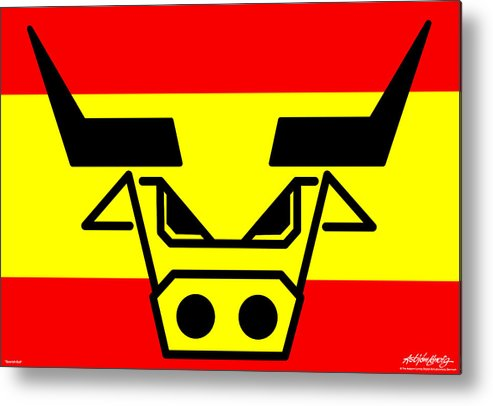 Spanish Bull Metal Print featuring the digital art Spanish Bull by Asbjorn Lonvig