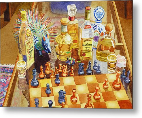 Tequila Metal Print featuring the painting Chess And Tequila by Mary Helmreich