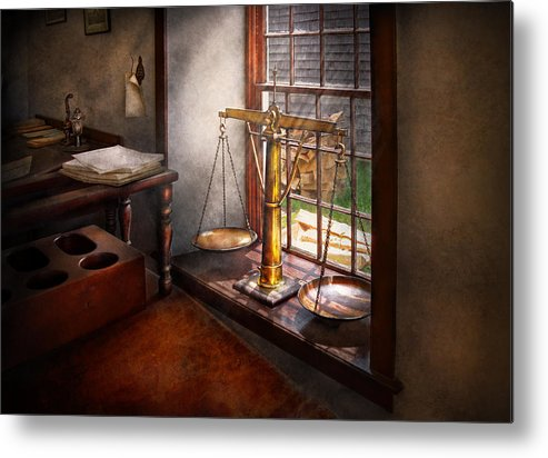 Hdr Metal Print featuring the photograph Lawyer - Scales Of Justice by Mike Savad
