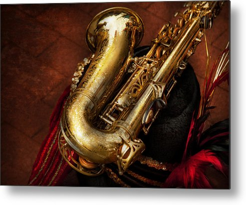 Hdr Metal Print featuring the photograph Music - Brass - Saxophone by Mike Savad