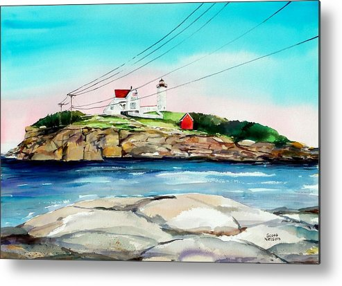 Nubble Lighthouse Metal Print featuring the painting Nubble Lighthouse Maine by Scott Nelson