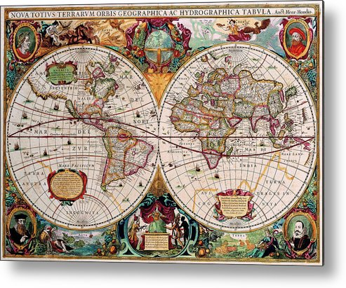 Map Metal Print featuring the digital art Old World Map by Csongor Licskai