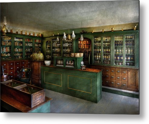 Hdr Metal Print featuring the photograph Pharmacy - The Chemist Shop by Mike Savad
