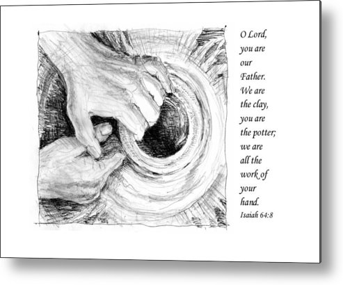 Pen And Ink Drawing Metal Print featuring the drawing Potter And Clay by Janet King