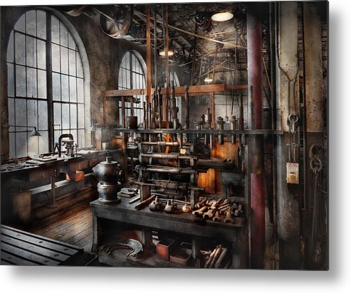Steampunk Metal Print featuring the photograph Steampunk - Room - Steampunk Studio by Mike Savad