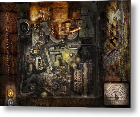 Hdr Metal Print featuring the photograph Steampunk - The Turret Computer by Mike Savad
