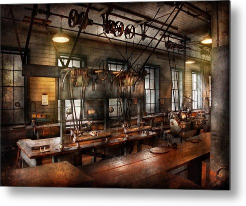 Hdr Metal Print featuring the photograph Steampunk - The Workshop by Mike Savad