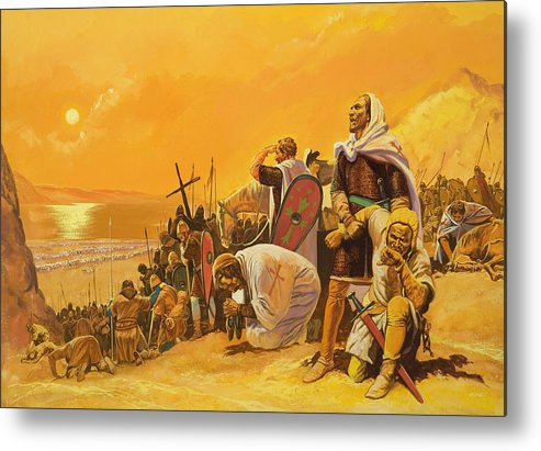 Orange; Soldier; Middle East; Heat; Sun; Cross; Christianity; Christendom; Suffering; Exhaustion; Water; Land; Desert; Shield; Armour; C11th; Croisades; Holy War; Arid; Parched; Harsh Conditions; Male; Children's Illustration Metal Print featuring the painting The Crusades by Gerry Embleton