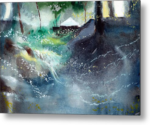 Nature Metal Print featuring the painting Dream House 2 by Anil Nene