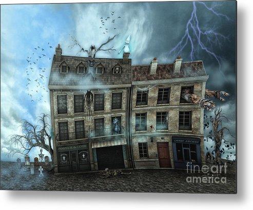 3d Metal Print featuring the digital art Haunted House by Jutta Maria Pusl