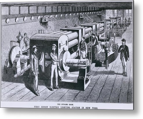 History Metal Print featuring the photograph The Dynamo Room In The First Edison by Everett