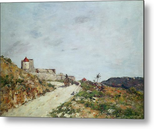 The Metal Print featuring the painting The Road To The Citadel At Villefranche by Eugene Louis Boudin