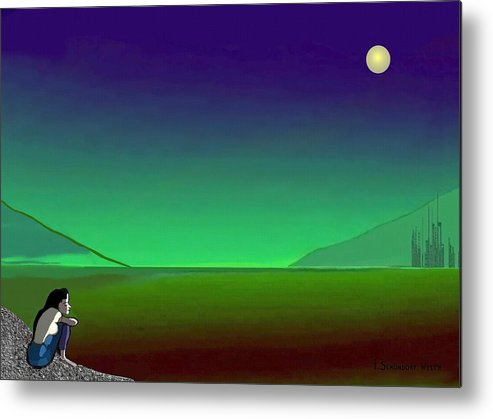 Night Metal Print featuring the painting 011 - Moon River by Irmgard Schoendorf Welch
