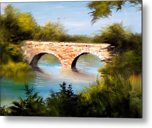 Landscape Metal Print featuring the painting Bridge Under El Dorado Lake by Robert Carver