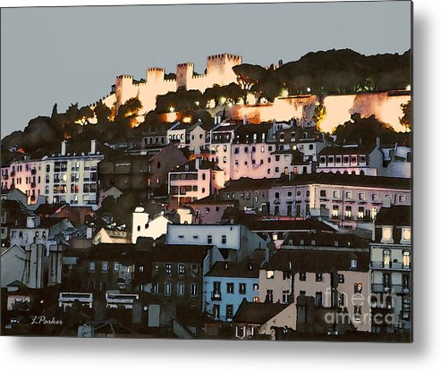 Abstract Metal Print featuring the photograph Dawn At St. George Castle Lisbon by Linda Parker