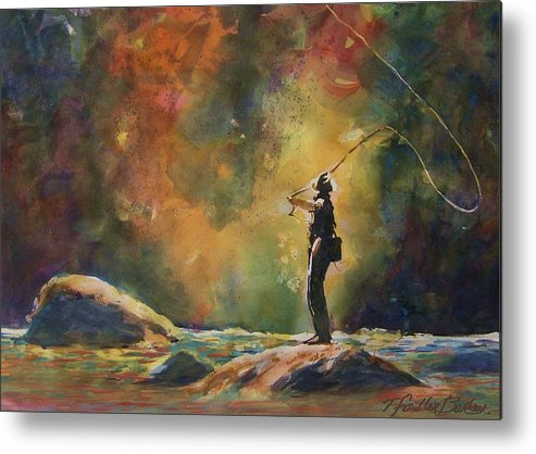 This Is An Original That Has Been Sold. \evening Cast\ Hangs In A Beautiful Home And Is Loved By Any Fisherman Metal Print featuring the painting Evening Cast by Therese Fowler-Bailey