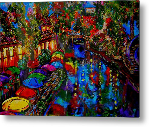 San Antonio Metal Print featuring the painting Fall On The Riverwalk by Patti Schermerhorn