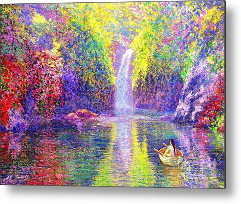 Waterfall Metal Print featuring the painting Floating by Jane Small