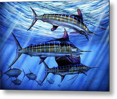 Blue Mrlin Metal Print featuring the painting Grand Slam Lure And Tuna by Terry Fox