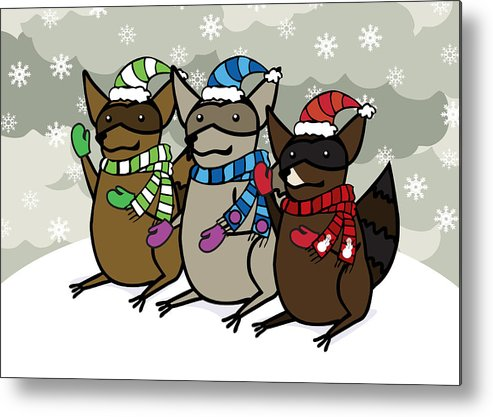 Raccoons Metal Print featuring the digital art Raccoons Winter by Christy Beckwith