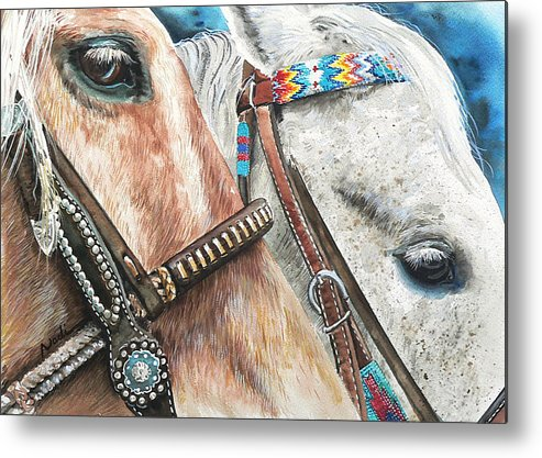 Horse Metal Print featuring the painting Roping Horses by Nadi Spencer