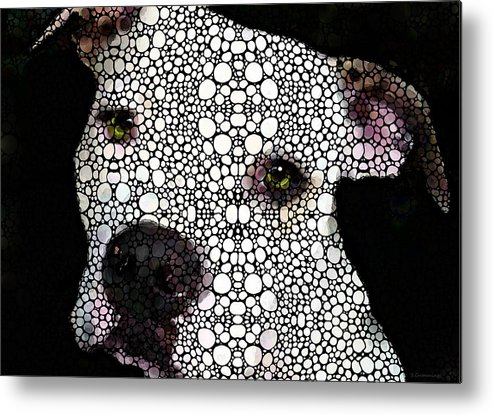 Dog Metal Print featuring the painting Stone Rock'd Dog By Sharon Cummings by Sharon Cummings