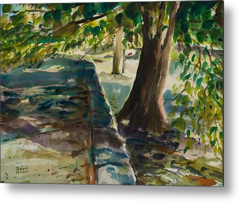 Watercolor Metal Print featuring the painting Grafton Wall by Scott Nelson