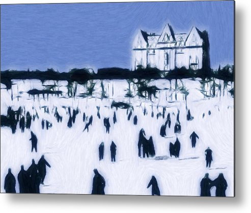 Ice Skating 19 Century Vintage Old Blue Sky Snow People Fun Winter Pastel Painting Metal Print featuring the pastel Ice Skating In Central Park by Steve K