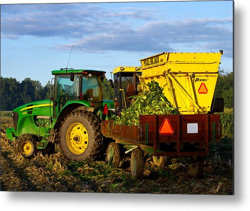 John Deere Metal Print featuring the photograph Morning Harvest by Tim Fitzwater