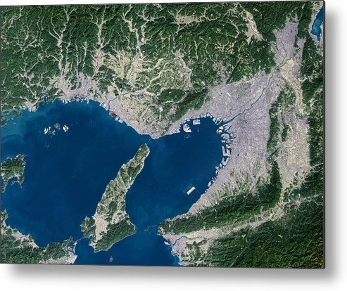 Osaka Metal Print featuring the photograph Osaka, Satellite Image by Planetobserver