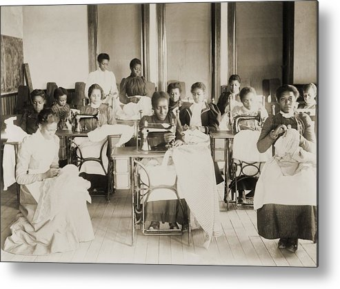History Metal Print featuring the photograph Young African American Women Sewing by Everett