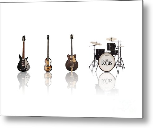 The Beatles Metal Print featuring the digital art Beat Of Beatles by Six Artist