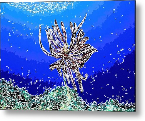 Starfish Metal Print featuring the painting Beautiful Marine Plants 1 by Lanjee Chee