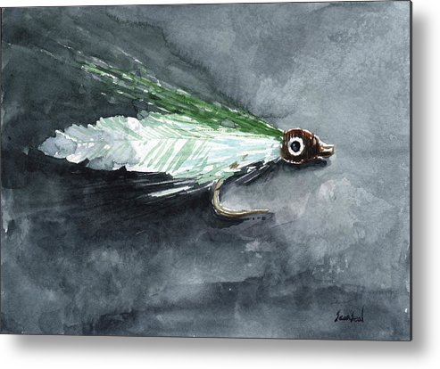 Fishing Metal Print featuring the painting Deceiver Fishing Fly by Sean Seal