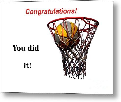 Basketball Metal Print featuring the photograph Slam Dunk Congratulations Greeting Card by Yali Shi