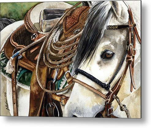 Cowboy Metal Print featuring the painting Stirrup Up by Nadi Spencer