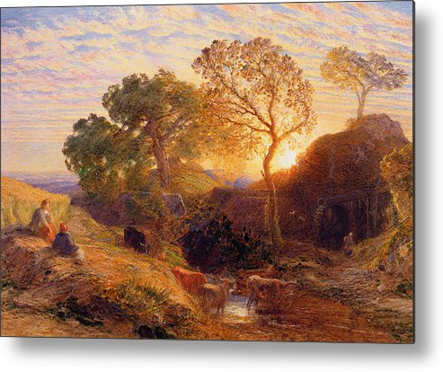Sunset Metal Print featuring the painting Sunset by Samuel Palmer