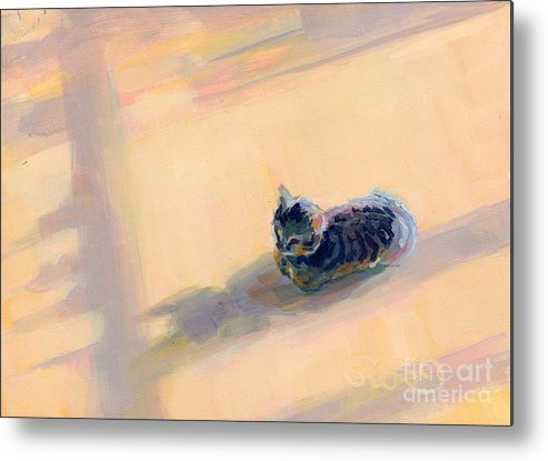 Gray Tabby Metal Print featuring the painting Tiny Kitten Big Dreams by Kimberly Santini
