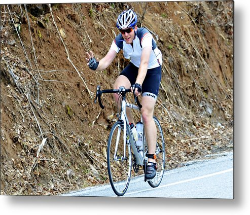 Sport; Ride; Recreation; Person; Miles; Man; Lifestyle; Leisure; Hobby; Healthy; Happy; Fundraiser; Fun; Event; Endurance; Cyclist; Century; Bike; Bicycle; Active; Action; 100; Mountains; Challenge; Terrain; Curves; Road; Endurance Metal Print featuring the photograph Gran Fondo by Susan Leggett