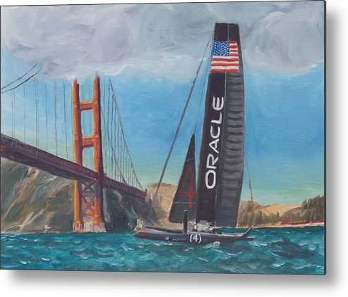 San Francisco Metal Print featuring the painting Americas Cup By The Golden Gate by James Lopez