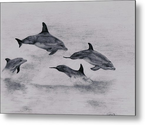 Dolphin Metal Print featuring the drawing Dolphins by Lucy D
