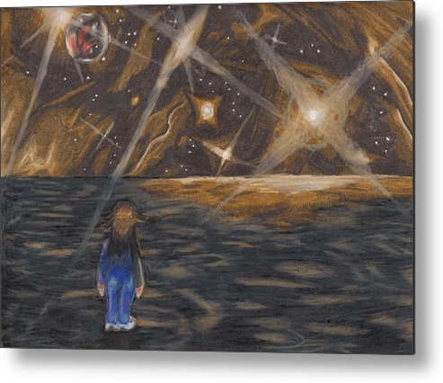 Pluto Metal Print featuring the drawing Etestska Lying On Pluto by Keith Gruis