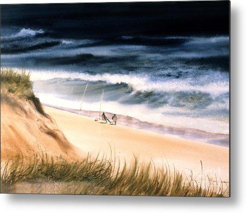 Ocean Metal Print featuring the painting Fishermen's Wait by Karol Wyckoff