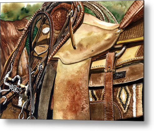 Cowboy Metal Print featuring the painting Saddle Texture by Nadi Spencer