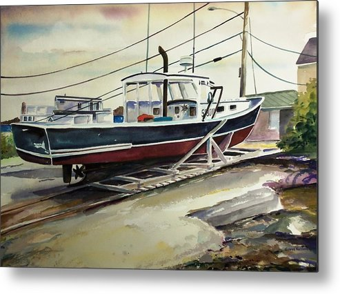 Perkins Cove Metal Print featuring the painting Up For Repairs In Perkins Cove by Scott Nelson