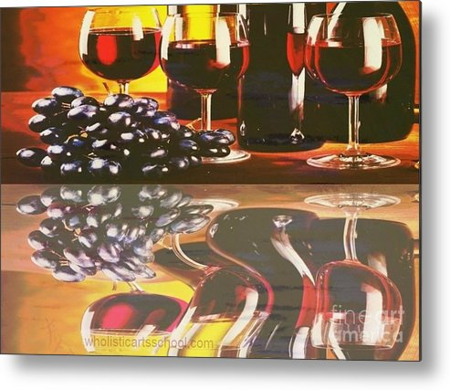 Wine Metal Print featuring the painting Wine Reflections by PainterArtist FIN