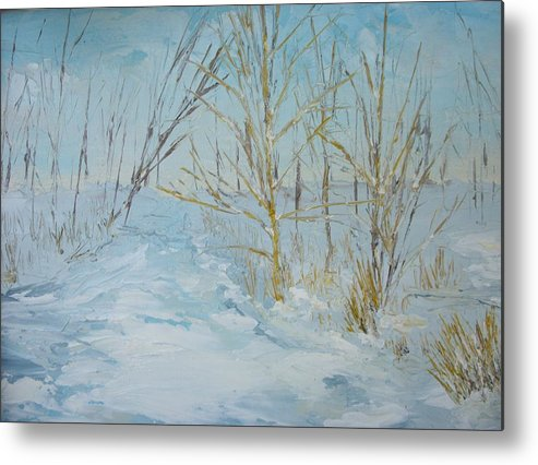 Landscape Metal Print featuring the painting Winter Scene by Dwayne Gresham