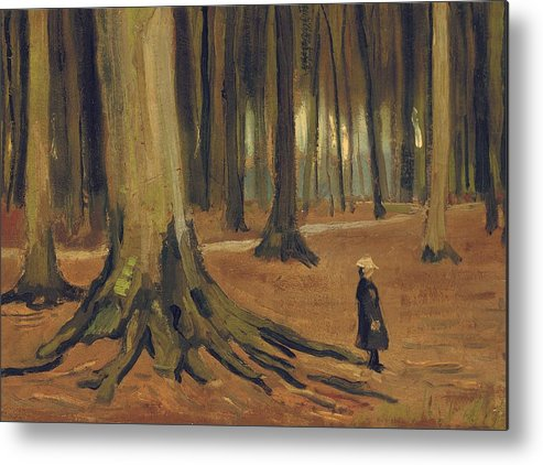 Vincent Van Gogh Metal Print featuring the painting A Girl In A Wood by Vincent van Gogh